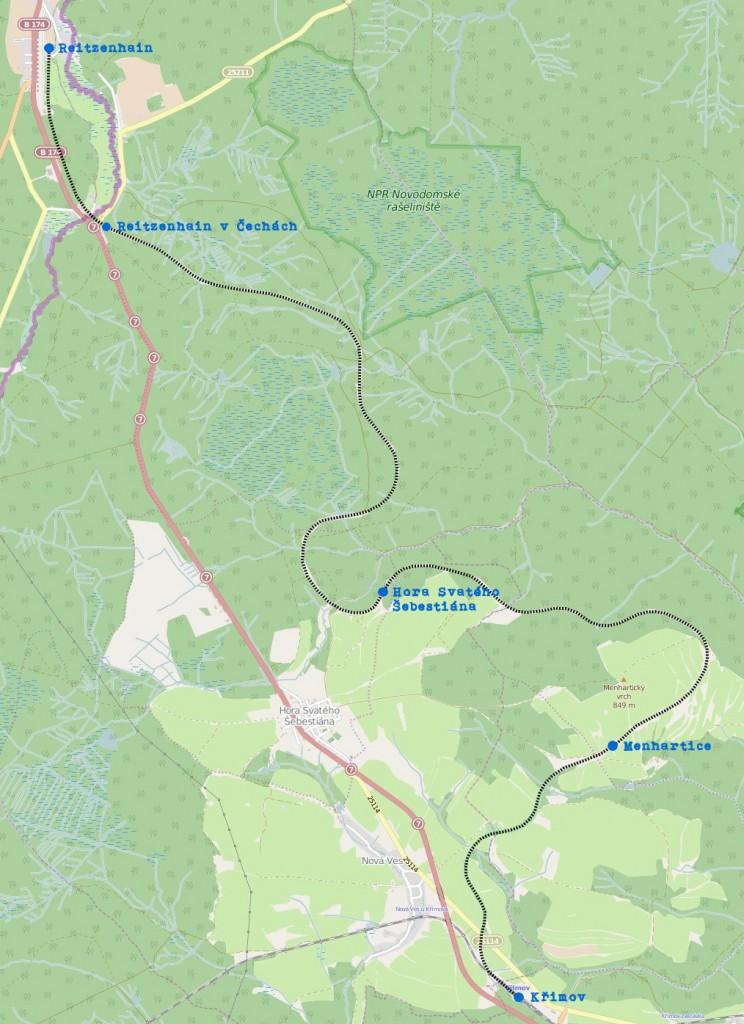 Mapa odbočky trati 137 Křimov - Reitzenhain (použití podkladu ke zpracování z OpenStreetMaps)