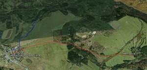 Dvě trasy cest z Menhratic do Hory. sv. Šebestiána
