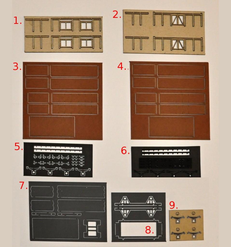 1 a 2 - Kostra stěn 3 a 4 - Naznačení peřejek skříně vnitřních i vnějších 5 a 6 - Díly kování skříně a část dílů rozsoch podvozku 7 - Plastové díly skříně, čelníky podvozků, podlaha skříně a spodní díl podvozku 8 - Boční díly podvozku s rozsochami a rám podvozku 9 - Masky ložisek a listových pružin