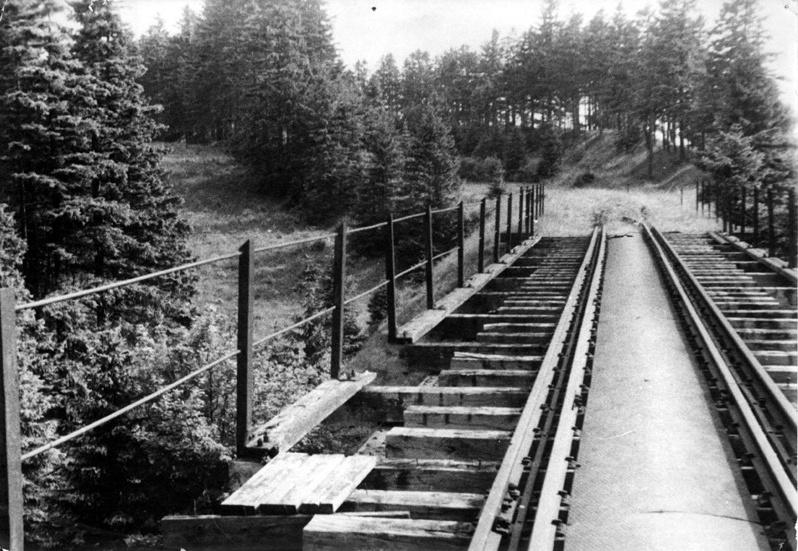 Pohled na mostní svršek. Dobová fotografie mostu v Hoře sv. Šebestiána [zdroj : Michal Pešek, 1972]