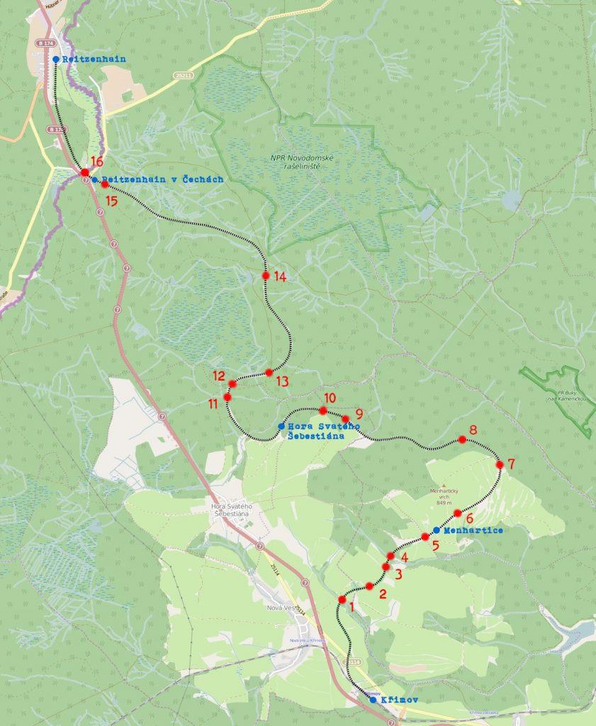 schematická mapa traťových modulů